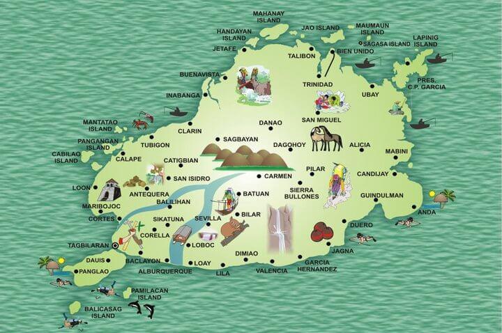 mapa de bohol filipinas