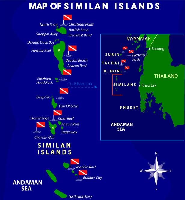 islas similian mapa de buceo en tailandia