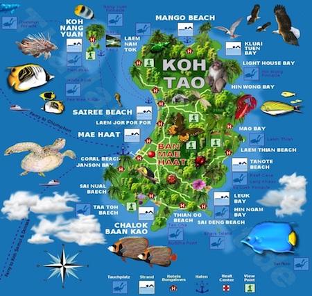 Mapa de Koh Tao
