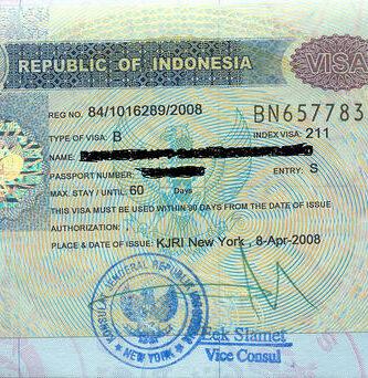 visado para viajar a Indonesia